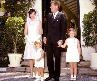 President John F. Kennedy and first lady Jacqueline Kennedy, with their children John Jr. and Caroline