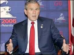 President Bush, at G-8 summit, St. Petersburg, Russia 7-17-06