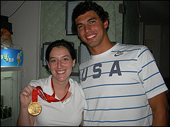Lauren tries on Ricky Berens' new gold medal