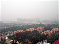 The hazy view from CBS News' Olympics workspace in Beijing