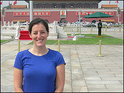 Lauren takes an obligatory photo in front of Chairman Mao