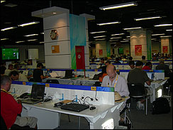Journalists from around thw world in the workroom at the Main Press Center