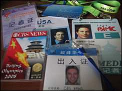 The hazy view from CBS News' Olympics workspace in Beijing.