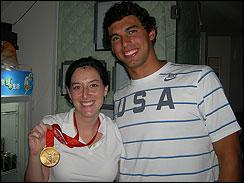 Lauren tries on Ricky Berens' new gold medal