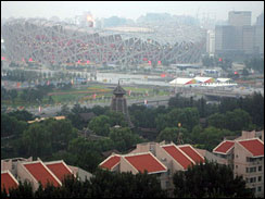The smog-obscured view from CBS News' Olympics workspace in Beijing